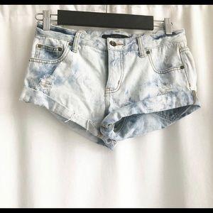 Billabong Distressed Acid Wash Denim Shorts